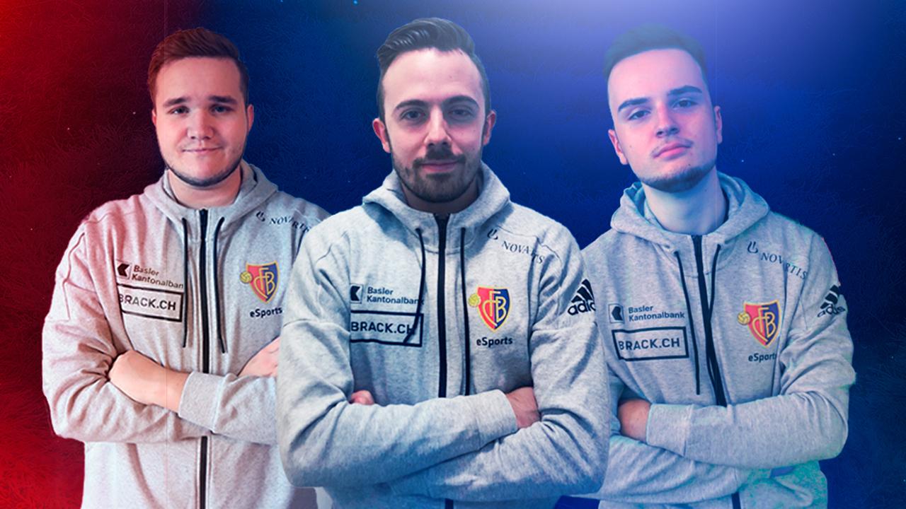 E-Sports-Team vom FC Basel mit Luca Boller in der Mitte
