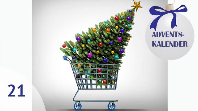 Weihnachtsbaum im Einkaufswagen