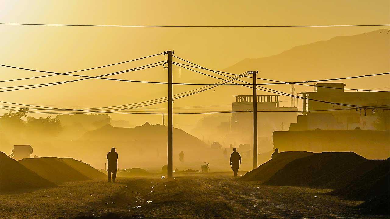 Gelbliches Morgenlicht in Kabul, Afghanistan