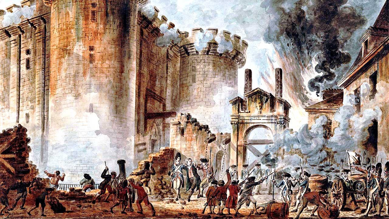 Aquarell, dass den Sturm auf die Bastille zeigt