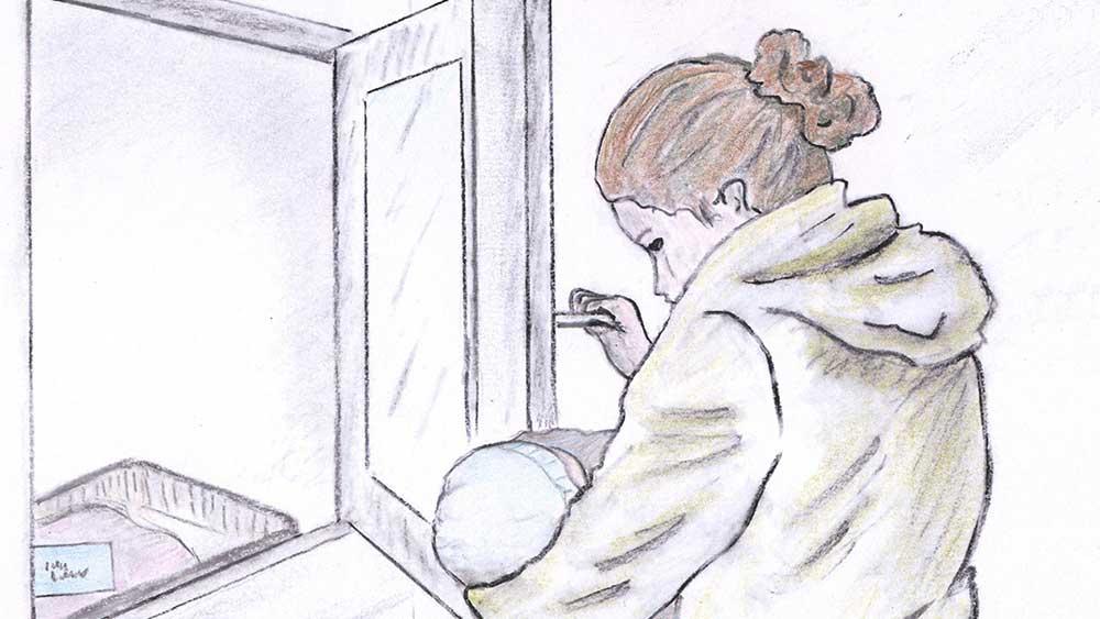 Illustration einer Mutter, welche ihr Baby zu einem Babyfenster bringt