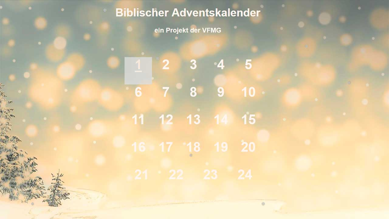 Biblischer Adventskalender der VFMG
