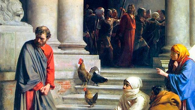Bild «Verleugung Jesus von Petrus» von Carl Bloch