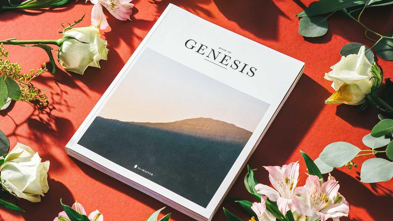 Das biblische Buch Genesis als Einzelbuch, vpn einzelnen Blumen umgeben