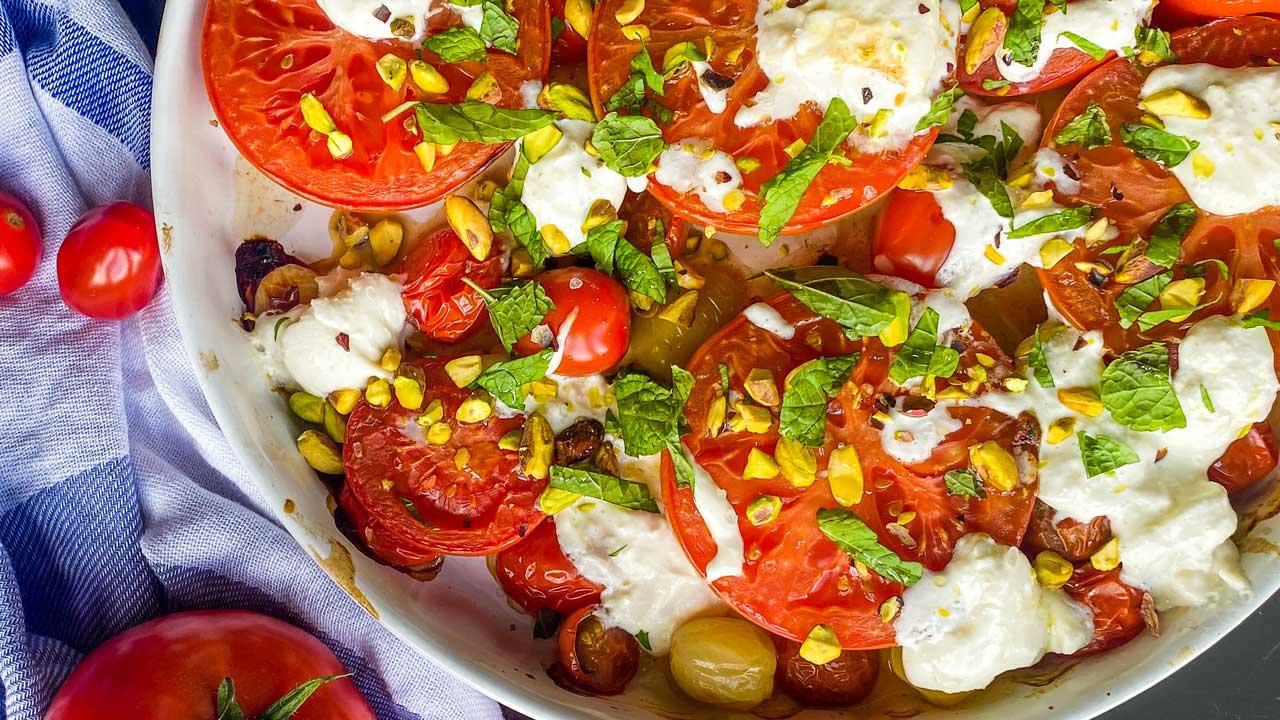 Burrata und gebackene Tomaten
