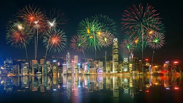 Feuerwerke in Hongkong