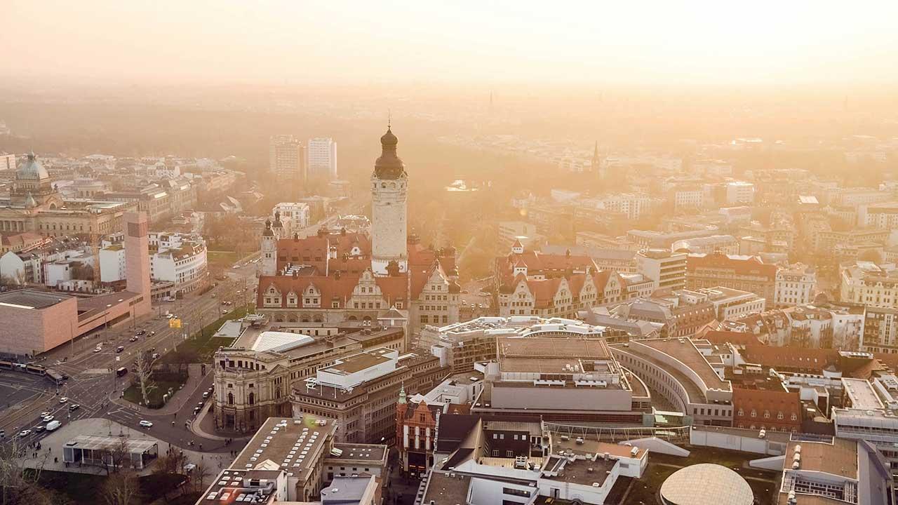 Vogelperspektive von Leipzig