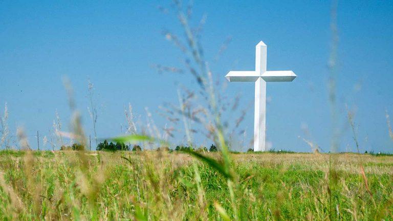 Grosses weisses Kreuz in einem Feld