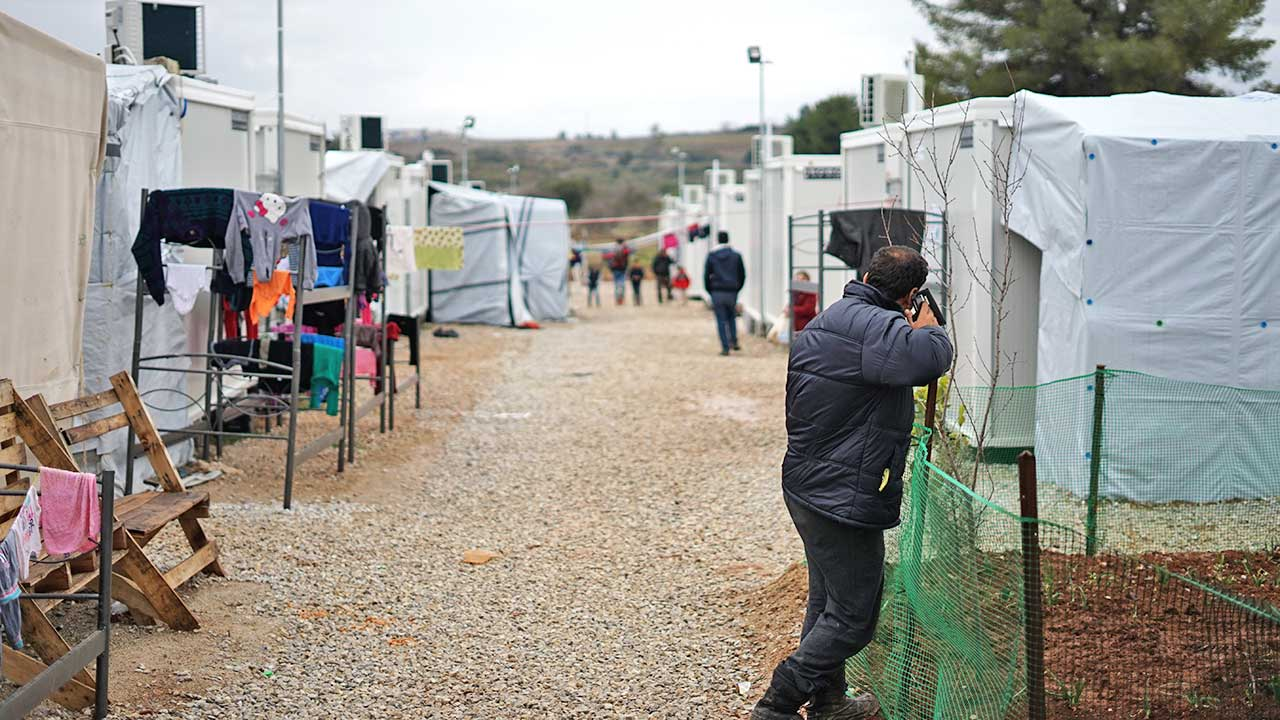 Flüchtlingslager von Syrern in Athen
