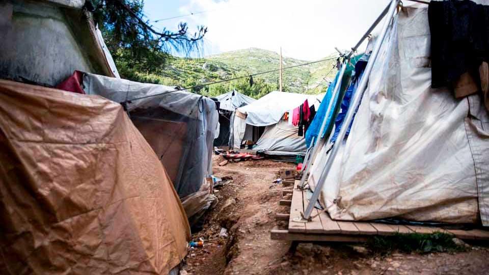 Zelte im Flüchtlingslager von Samos