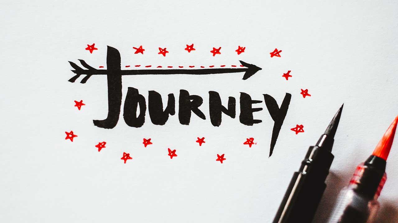 Das englisch Wort «Journey» im Handlettering-Stil