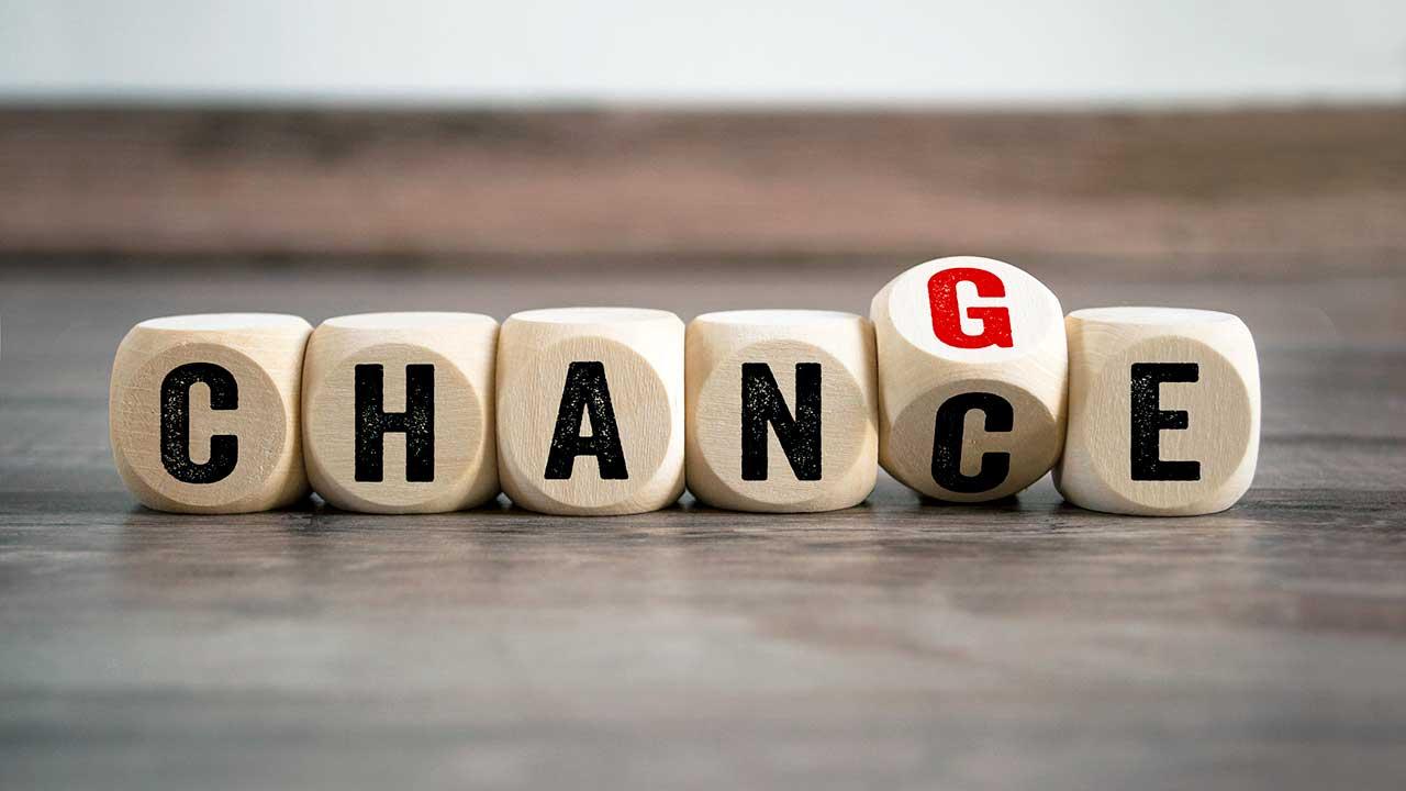 Holzwürfelchen mit Change und Chance