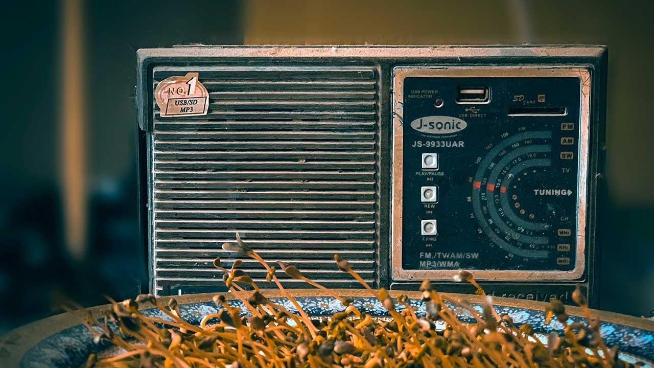 Radiogerät und Teller mit Pflanzensprossen in Bagdad, Irak