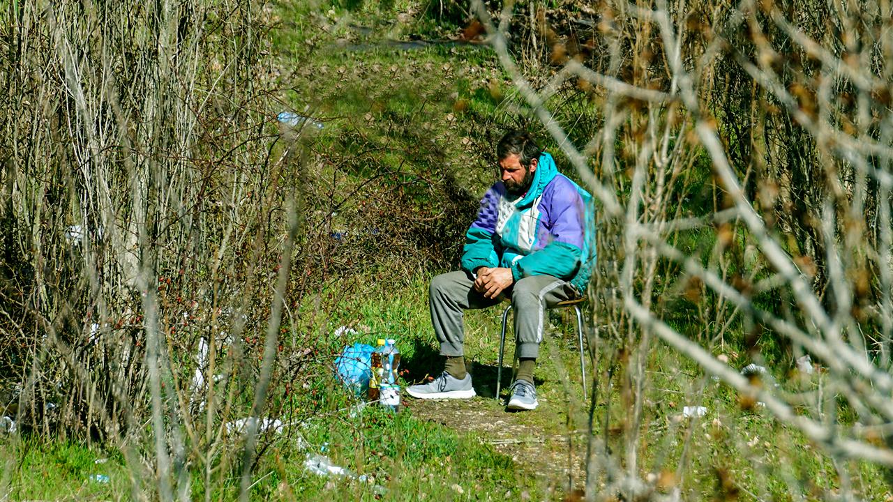 Obdachloser in einem Park