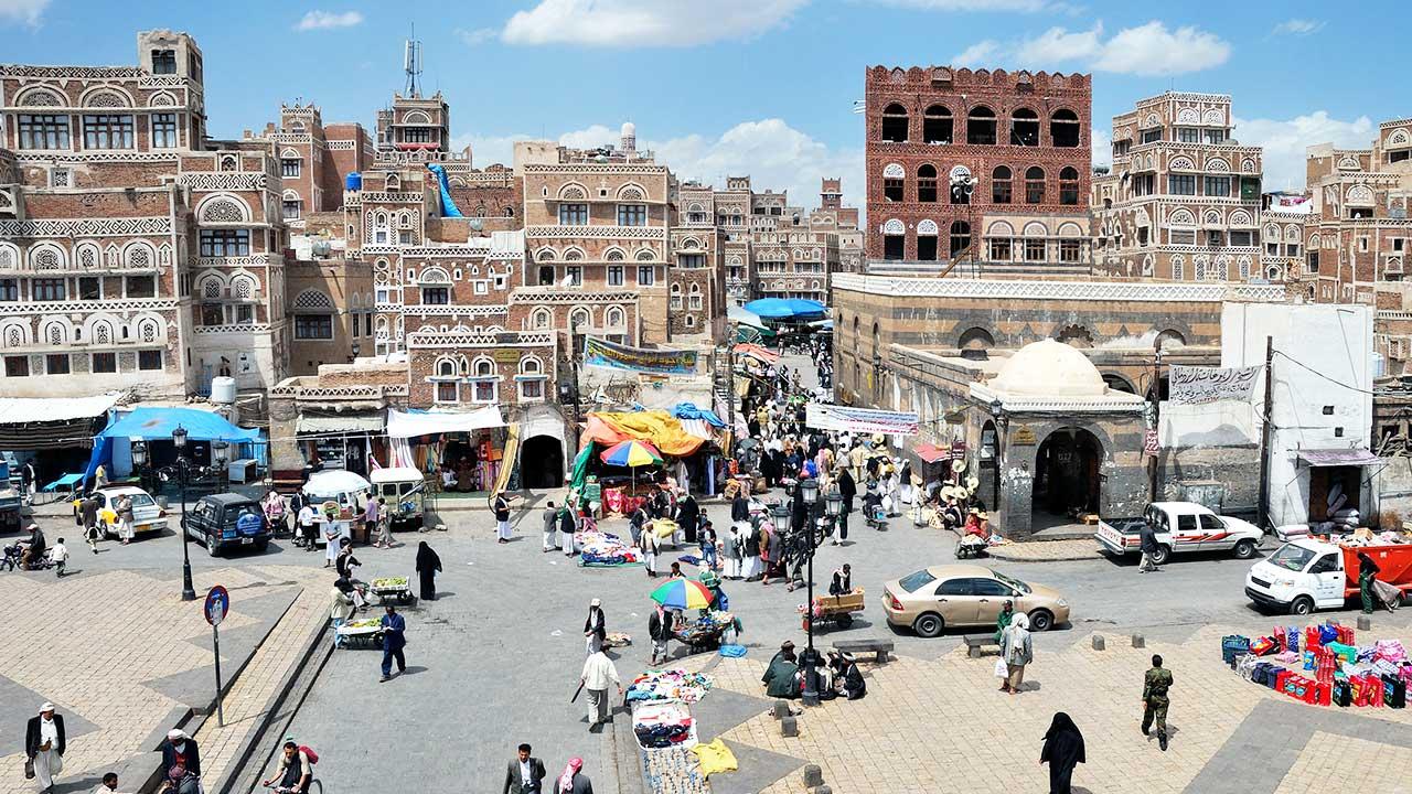 Blick von oben auf Sanaa, Jemen