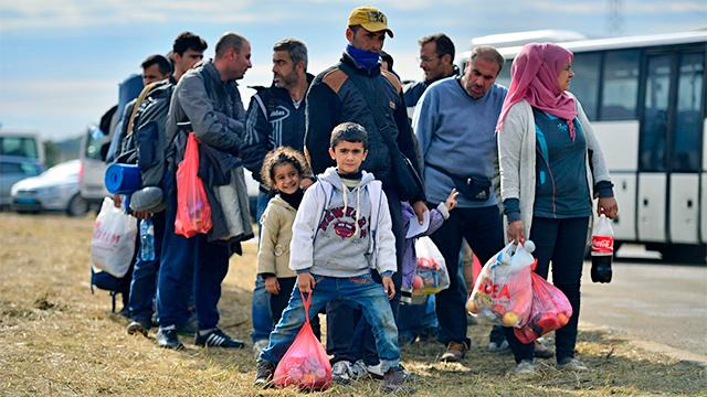 Gruppe von Flüchtlingen in Kroatien