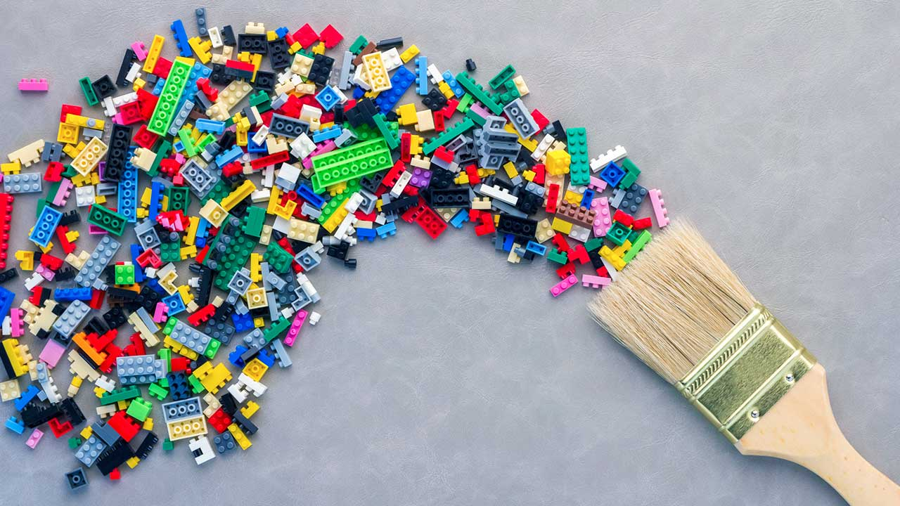 Legosteine als Farbschweif: Kreativität