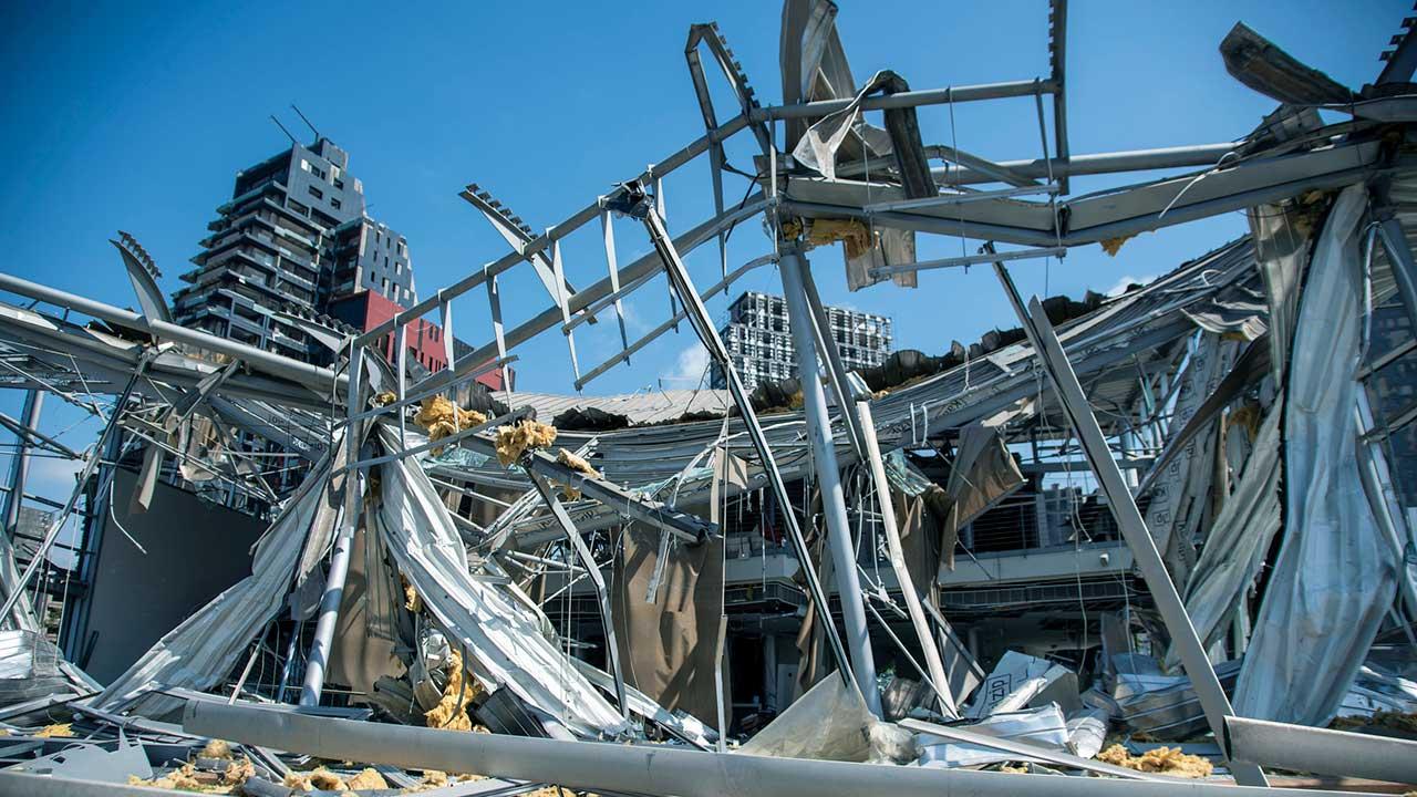 Zerstörte Gebäude in Beirut am 8. August 2020