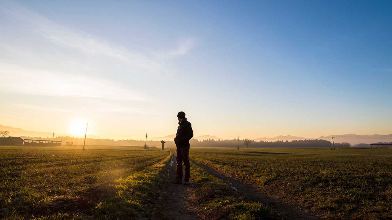 Mann auf einem Feldweg blickt zurück in die Abendsonne