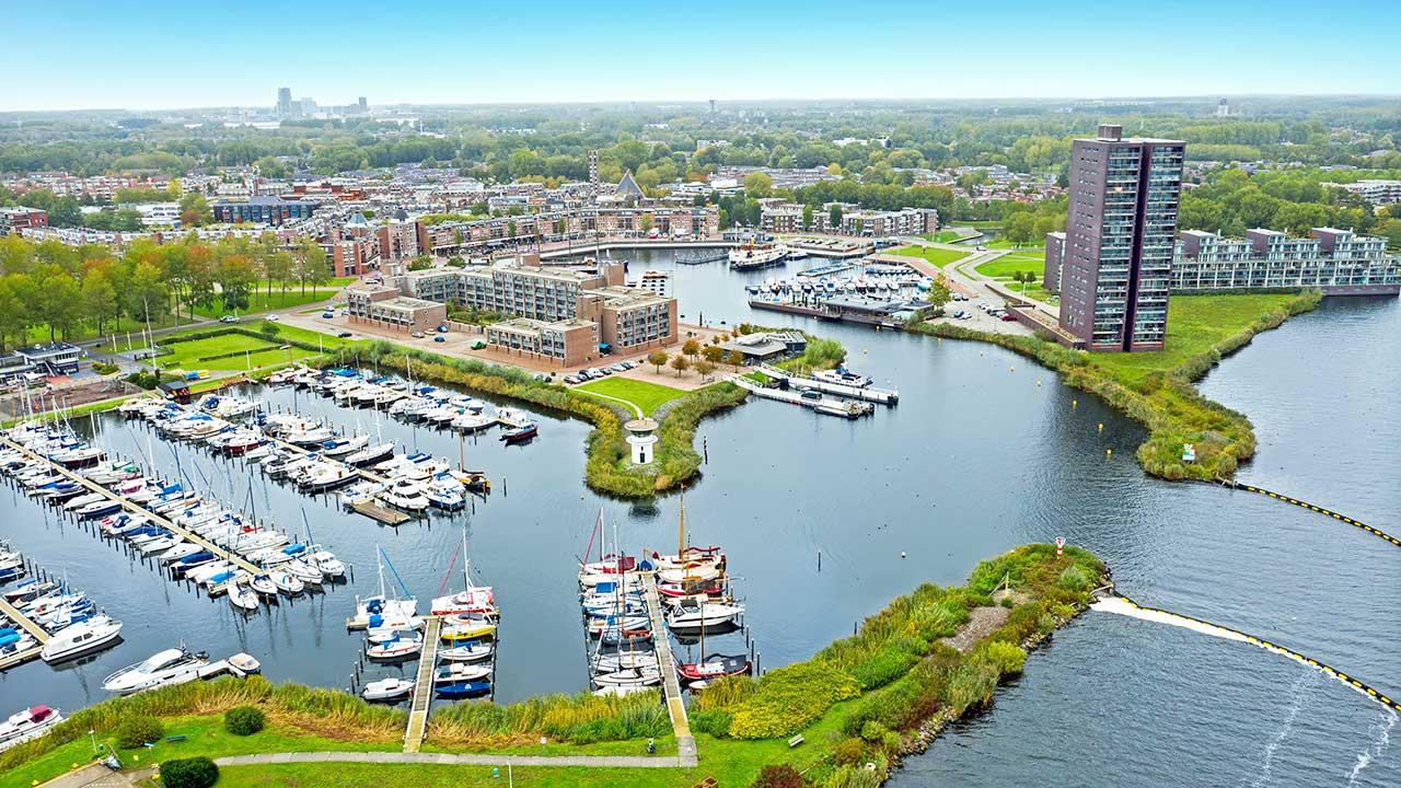 Almere, Niederlande aus der Vogelperspektive