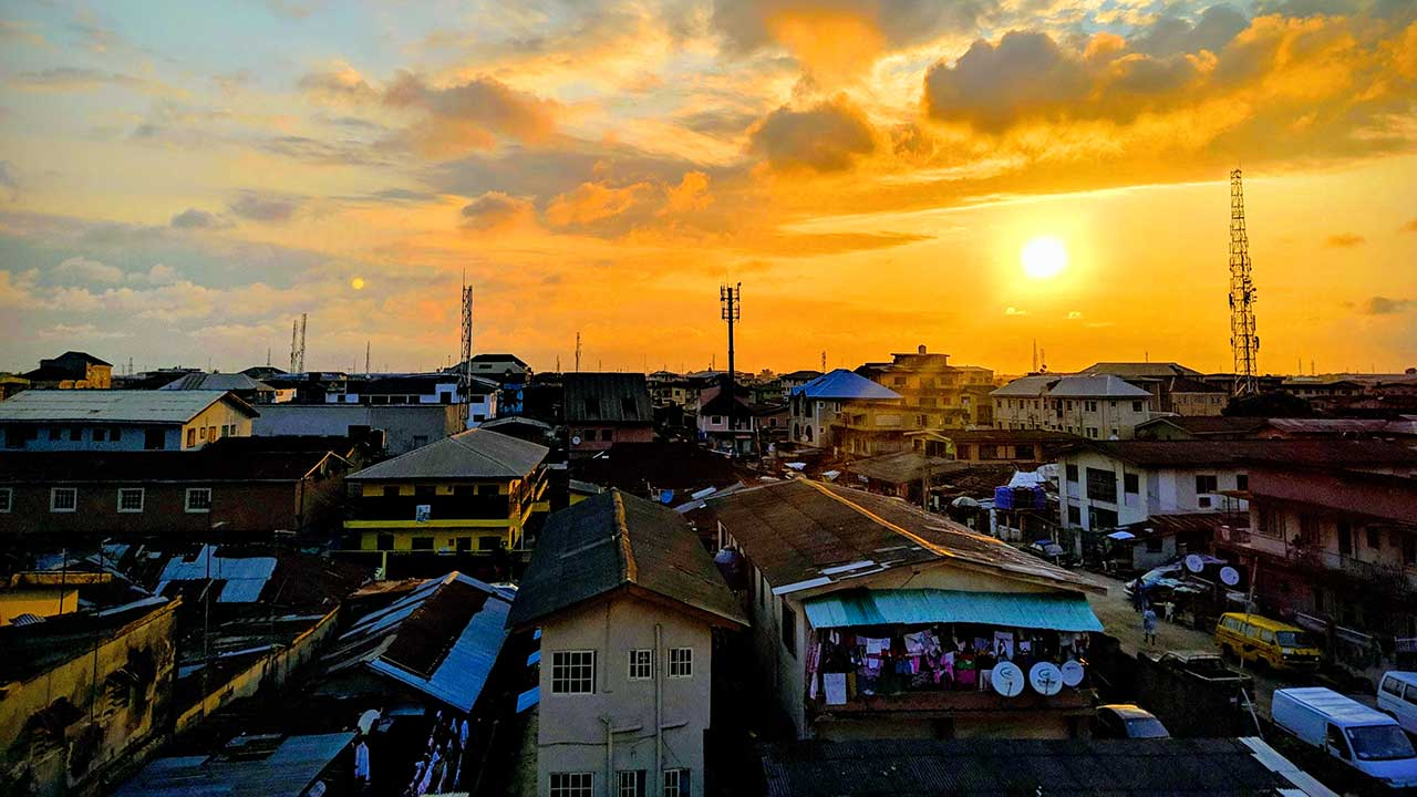 Sonnenuntergang in Lagos, Nigeria