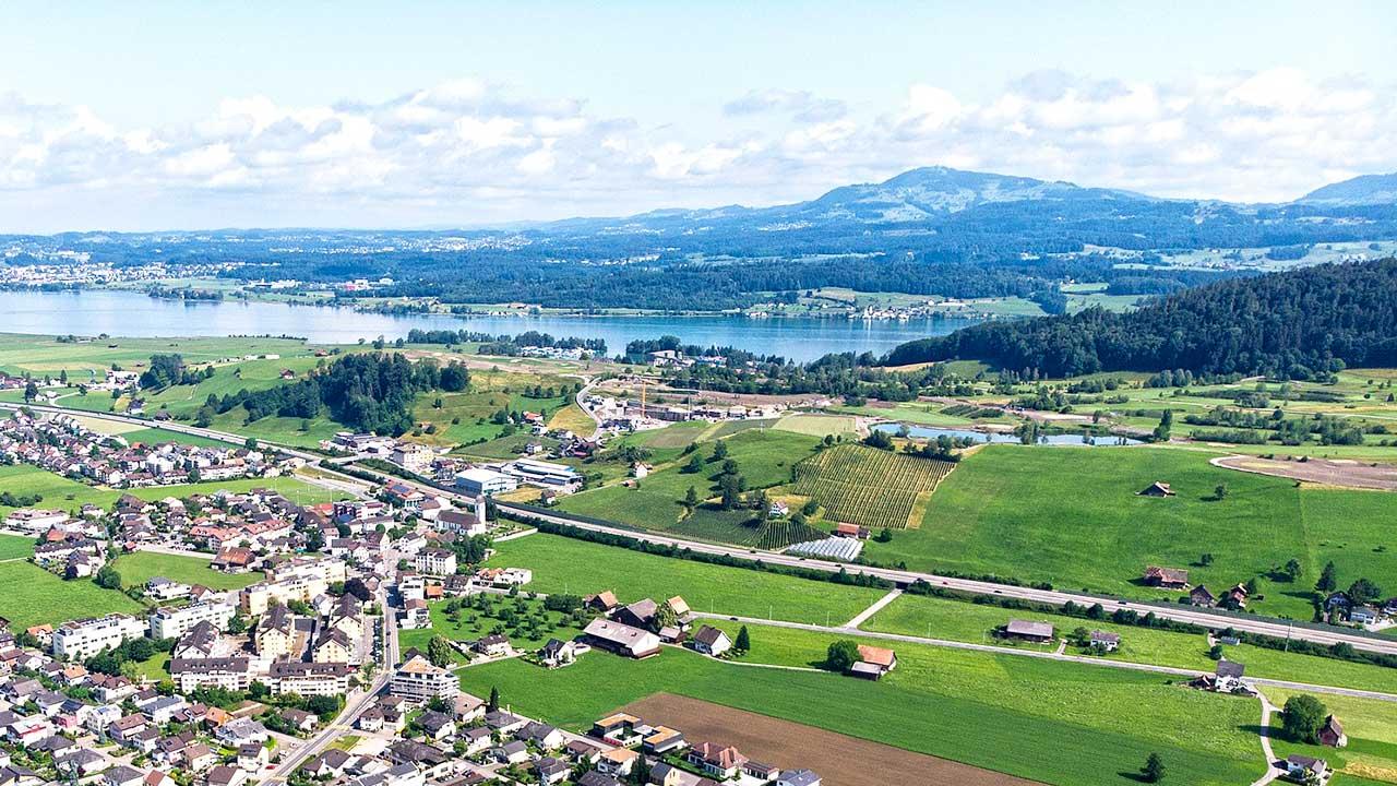 Wangen Kanton Schwyz aus der Vogelperspektive