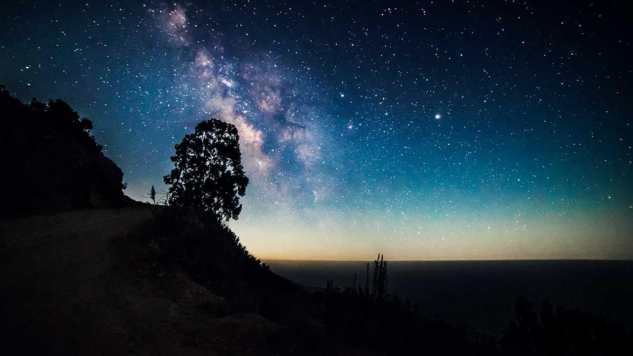 Sternenhimmel mit Landschaft als Silhouette | (c) Robson Hatsukami-Morgan/Unsplash