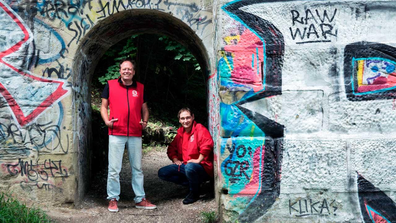 Führen durch die Stadt Bern à la Surprise: André Hebeisen und Michel Jäggi