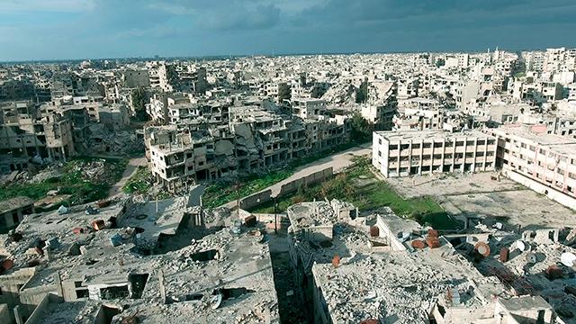 Zerstörte Gebäude in Homs (c) Syrien