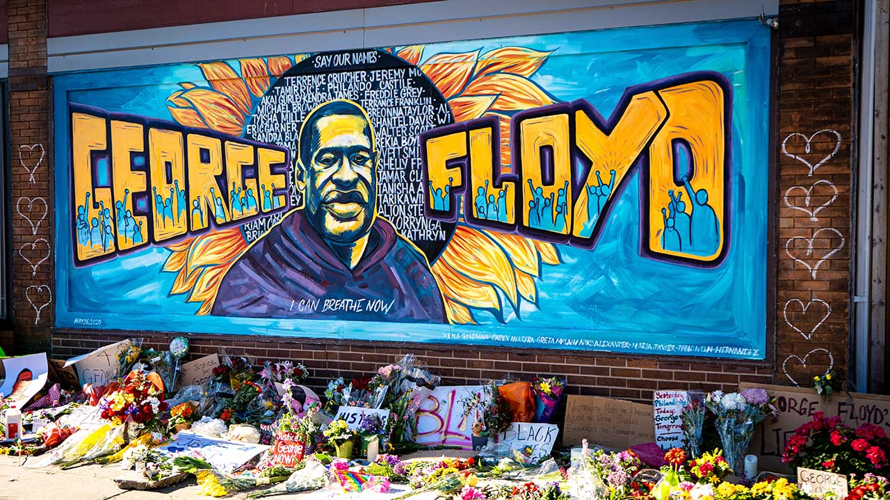 Graffiti in Minneapolis zu Ehren von George Floyd