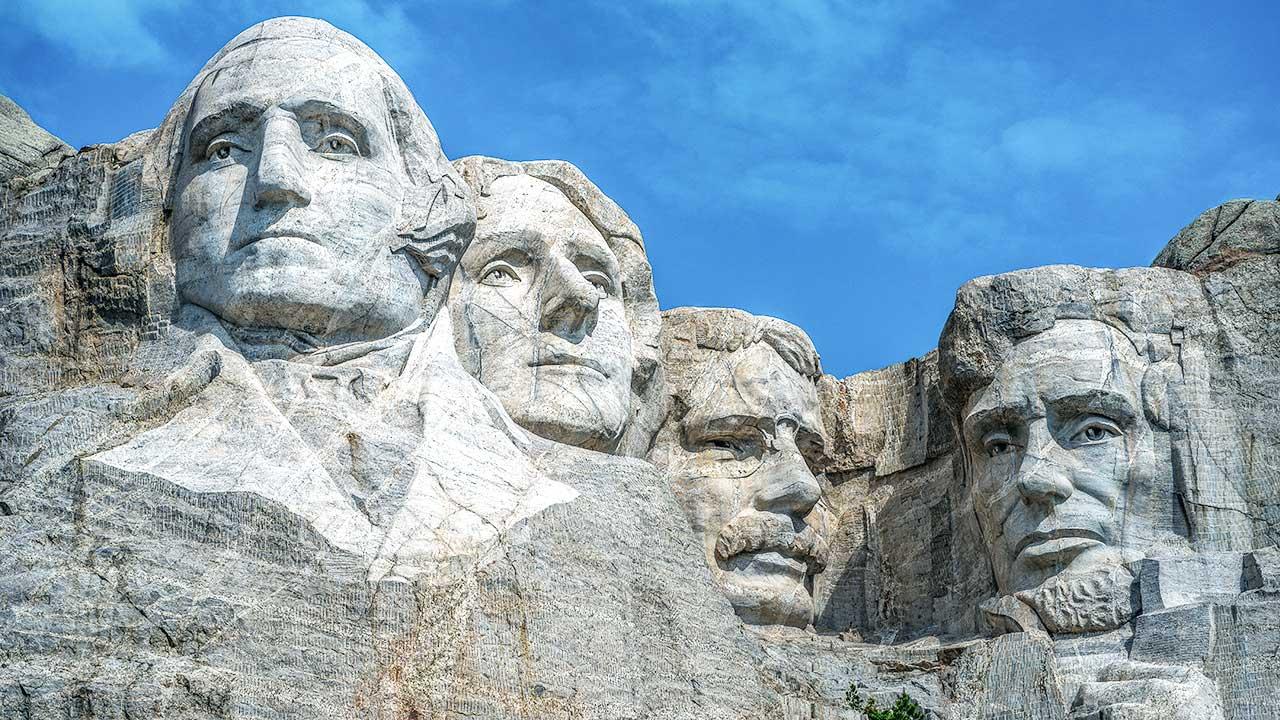 Mount Rushmore National Memorial mit den Köpfen von vier US-Präsidenten
