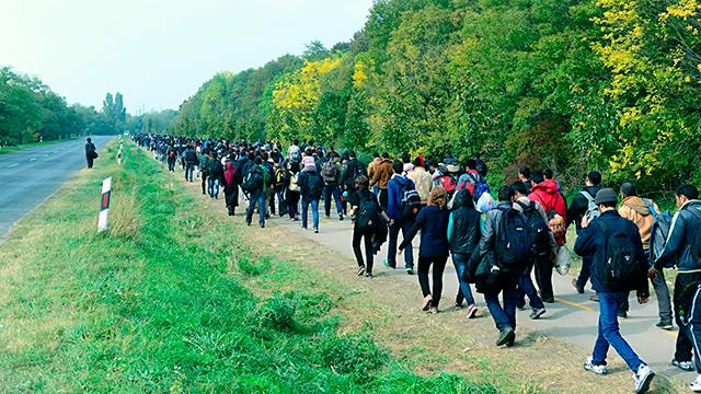 Flüchtlingsstrom von Ungarn nach Österreich
