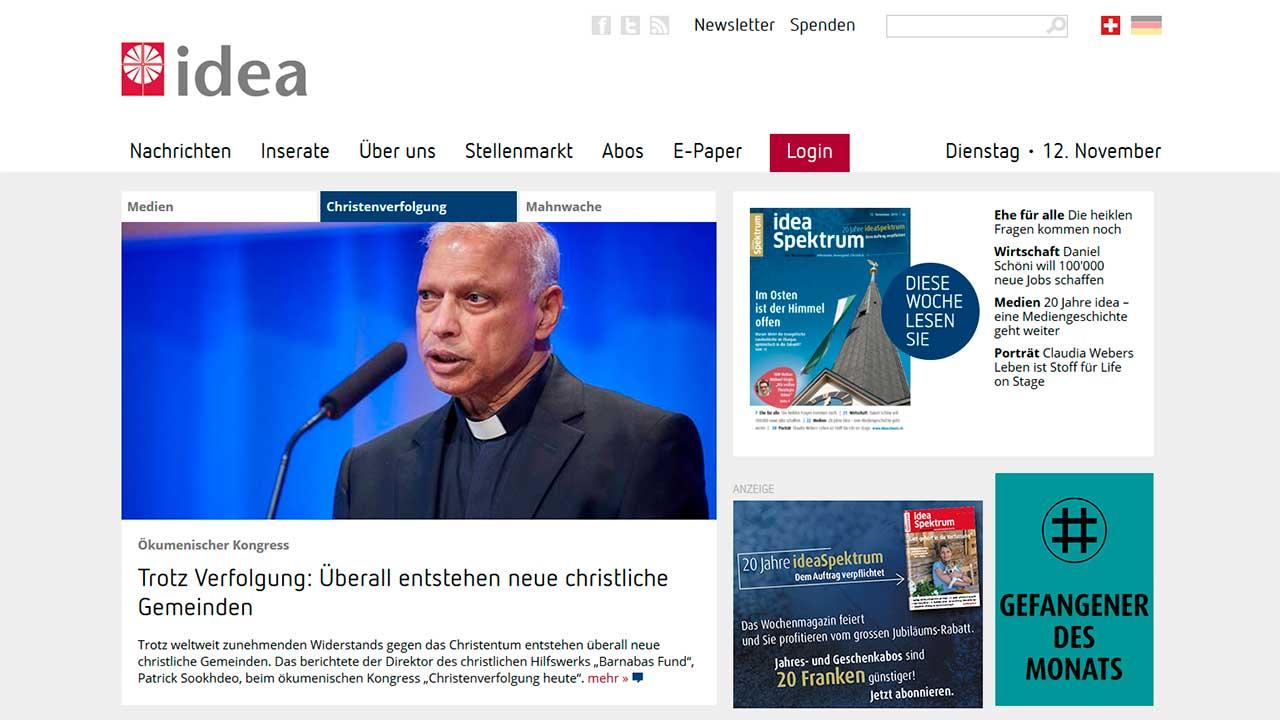 Website von «idea Spektrum Schweiz»