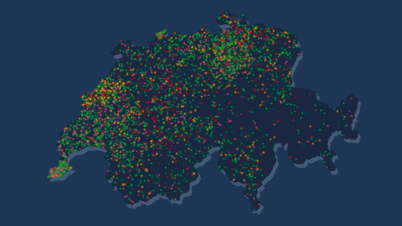 Karte der Aktion Lichtschenken mit den Standorten der virtuellen Kerzen