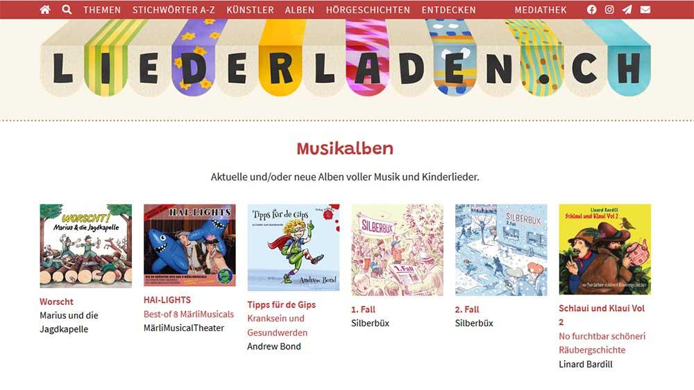 Screenshot der Website Liederladen.ch