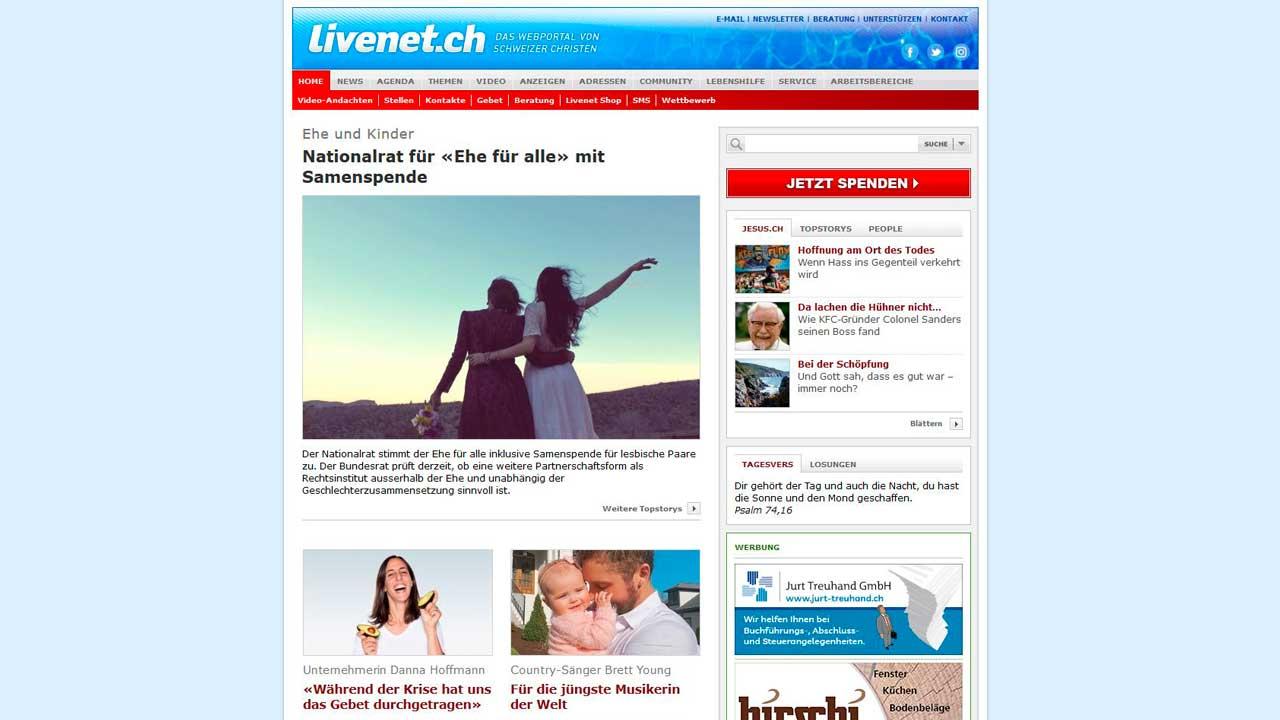 Startseite von Livenet