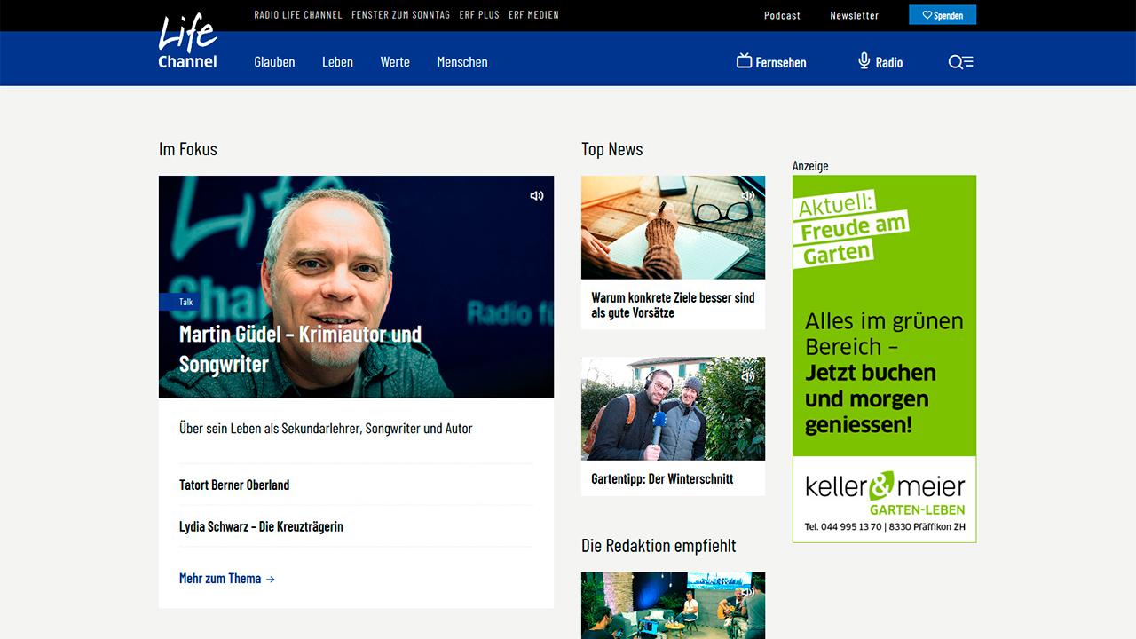 Startseite des Life Channel-Portals