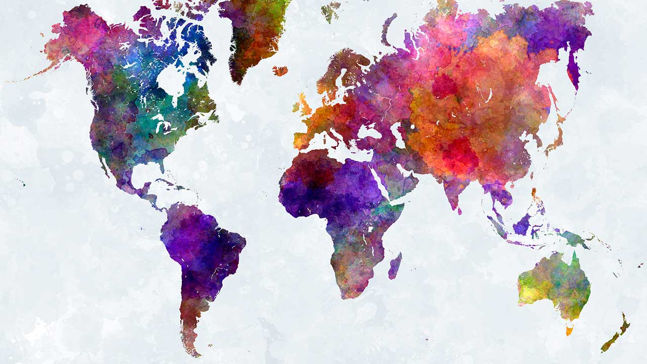 Die Kontinente in Aquarellfarben
