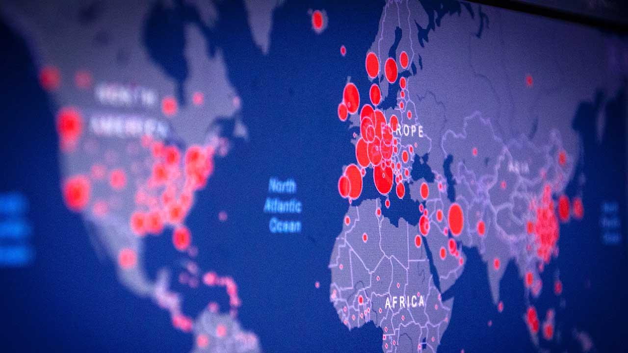Weltkarte zeigt die Ausbreitung des Coronavirus