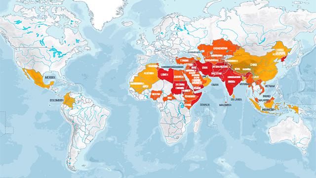 Karte Weltverfolgungsindex 2018