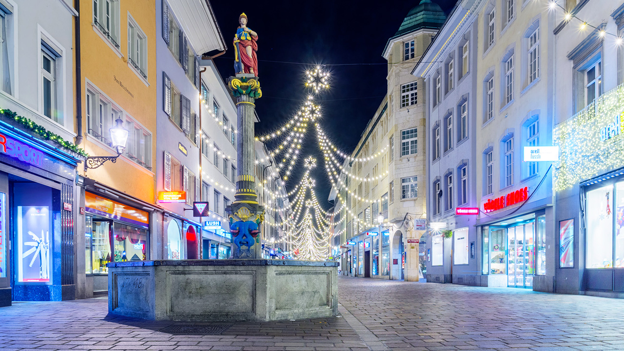 Winterthurer Altstadt nachts