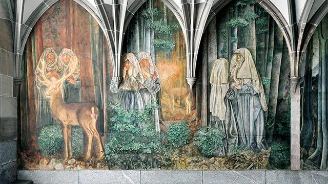 Fresko im Kreuzgang des Fraumünsters Zürich