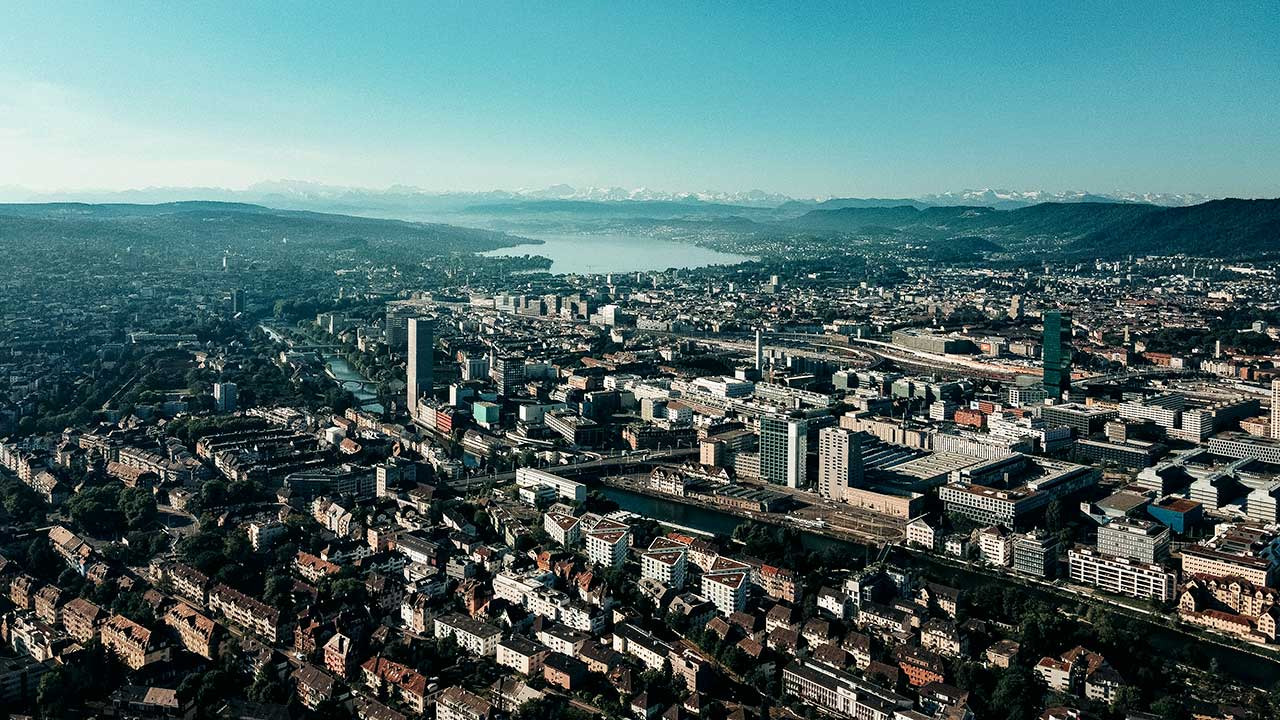 Innerer Teil der Stadt Zürich aus der Vogelperspektive