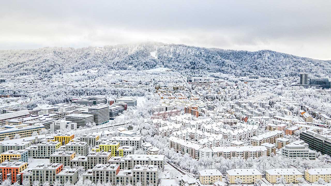 verschneites Zürich im Januar 2021