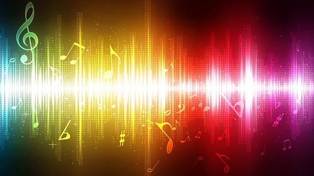 Musiknoten mit Regenbogenfarbiger Musikwelle