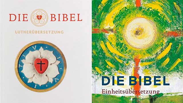 Links Lutherbibel 2017, rechts revidierte Einheitsübersetzung