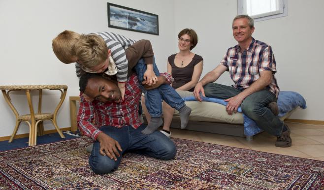 Familie mit Flüchtling