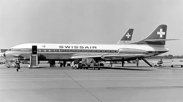 Flugzeug der Swissair 1961