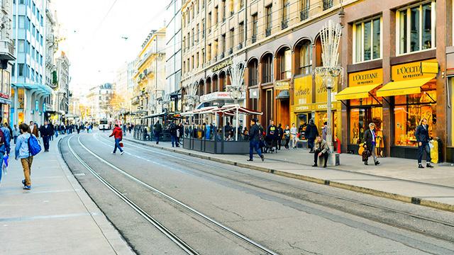 Strasse in der Stadt Genf