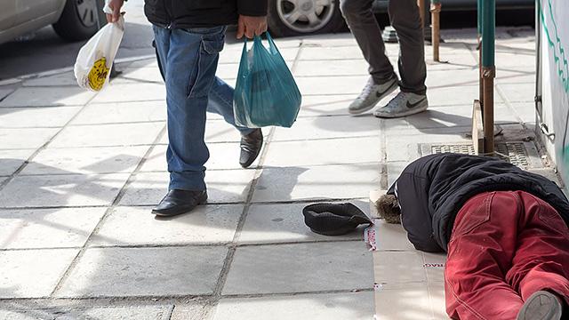 Obdachloser in Thessaloniki